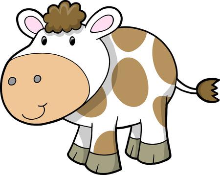 Ferme vache Vector Illustration Banque d'images - 4792502