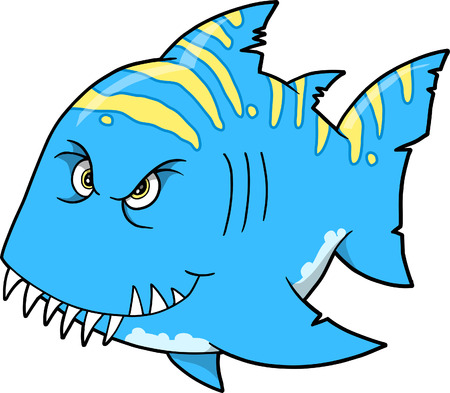 hostile: Mean Shark Vector Illustration Illustration