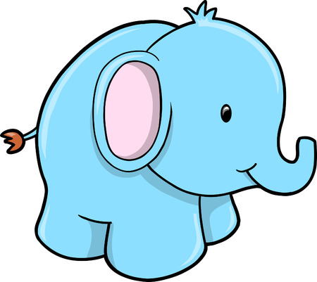Blue Elephant Vector Illustration Vector