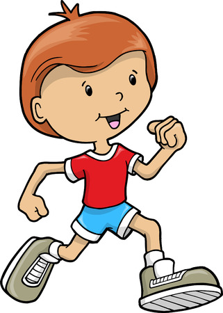 Kid Running Vector Illustration