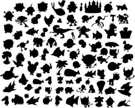 dog shark:  Vector Silhouette Collection Illustration