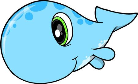 Cute Whale Vector Illustration Stock Vector - 4845082