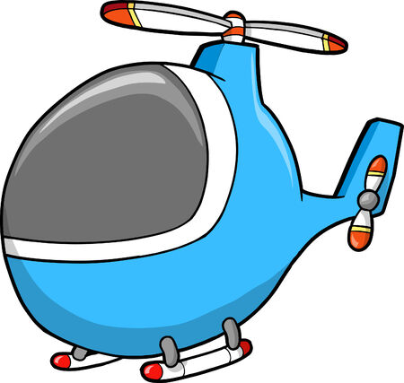 Cute Helicopter Vector Illustration Çizim