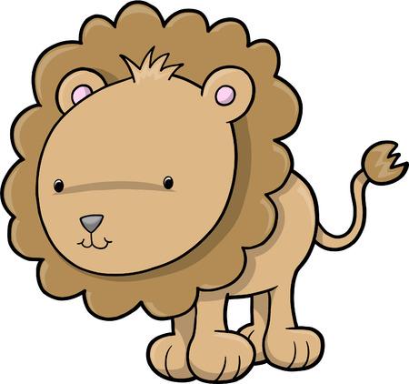 undomesticated: Cute Safari Lion Vector Illustration