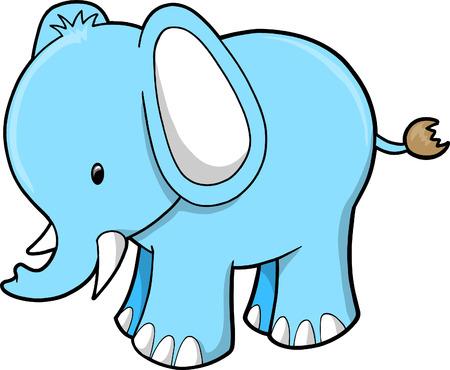 Cute Elephant Vector Illustration Vector