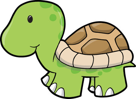 with illustration: Cute Turtle Vector Illustration