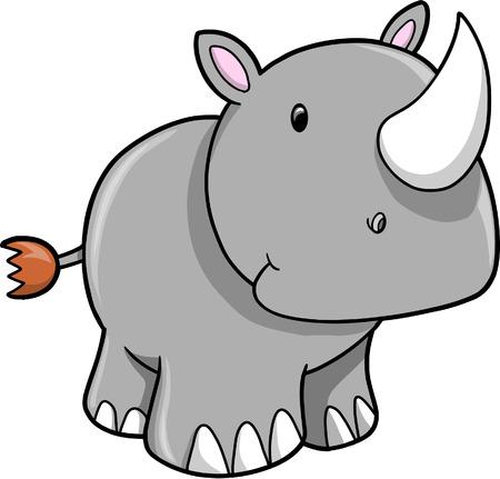 rhinoceros: Cute Safari Rhino Vector Illustration