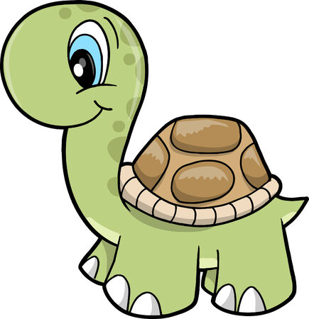 Cute Safari turtle Vector Illustration Çizim