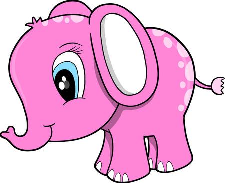 Pink Elephant Vector Illustration Zdjęcie Seryjne - 4974319