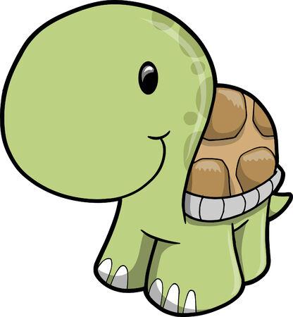 with illustration: Cute Safari turtle Vector Illustration Illustration