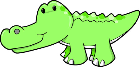 cute clipart: Cute Alligator Vector Illustration