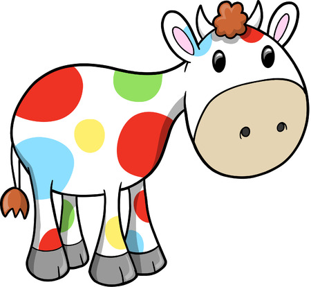 Rainbow Happy Cow Vector Illustration Çizim