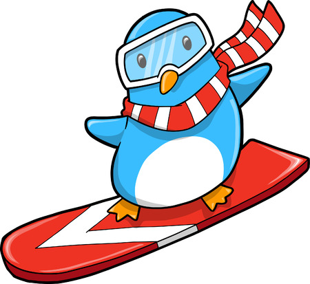 Snowboarder holiday Penguin Vector Illustration Stock Vector - 4987608