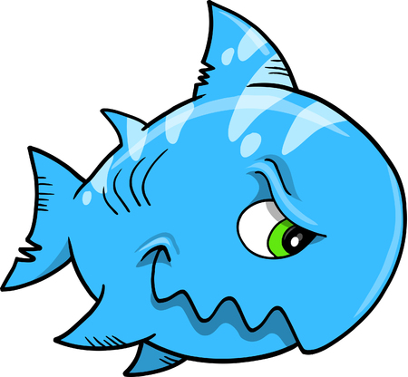 bluefish: Blue Mean shark Vector Illustration