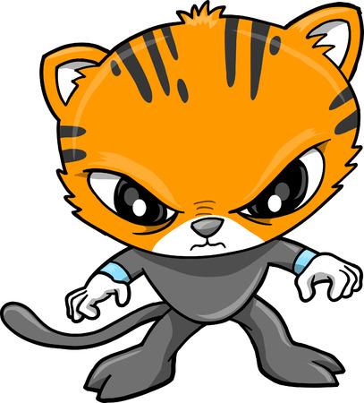 meow: Tiger Warrior Vector Illustration