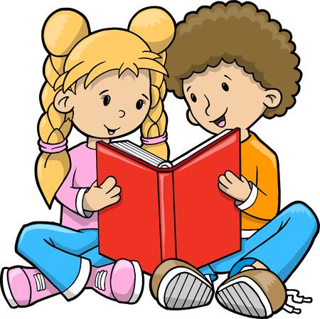 Kids reading Vector Illustration