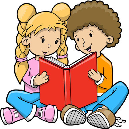Kids reading Vector Illustration Фото со стока - 5007479