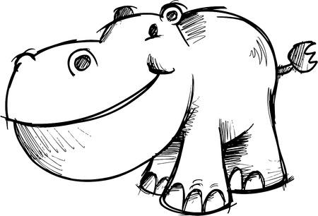 Sketchy Hippopotamus Vector Illustration Illusztráció