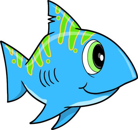 Cute blue shark Vector Illustration Stock Vector - 5028232