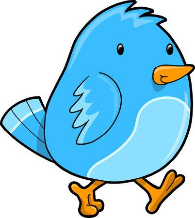 Blue Bird Vector Illustration Illustration