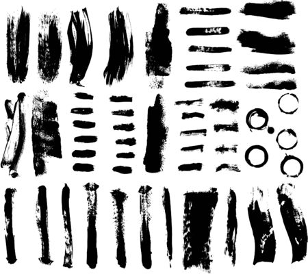 Brush strokes and Ink and Paint Splatters Vector Illustration