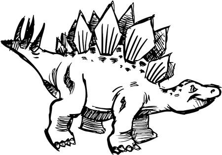 stegosaurus: Sketchy Stegosaurus Ilustraciones Vectoriales
