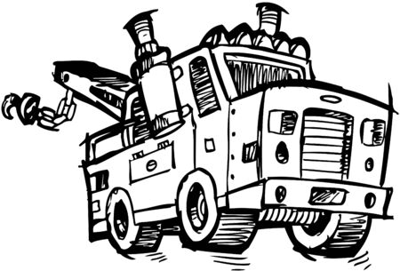 Sketchy Tow Truck Illustration