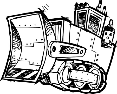 Sketchy Bulldozer Illustration