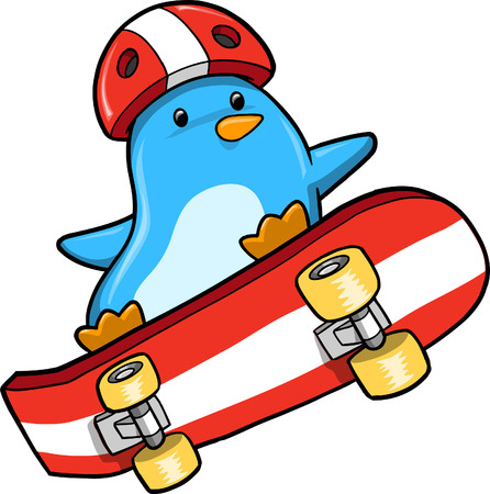 Penguin Skater Illustration
