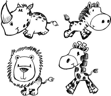 rhinoceros:  Sketchy Safari Set Illustration Illustration