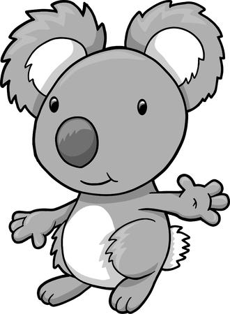 phascolarctos cinereus: Ilustraci�n de vector de oso koala