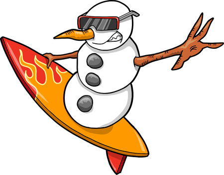 holiday: Christmas Holiday surfer Snowman Vector