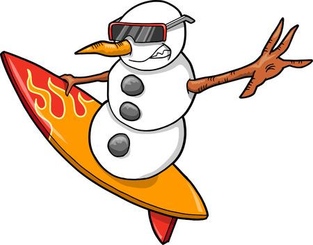 Les vacances de Noël surfer Vector bonhomme de neige