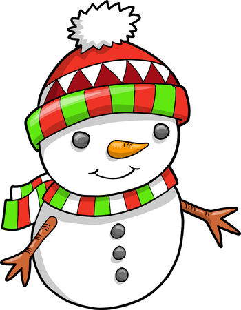 Christmas Holiday Snowman Vector Illustration Stock Vector - 6542178