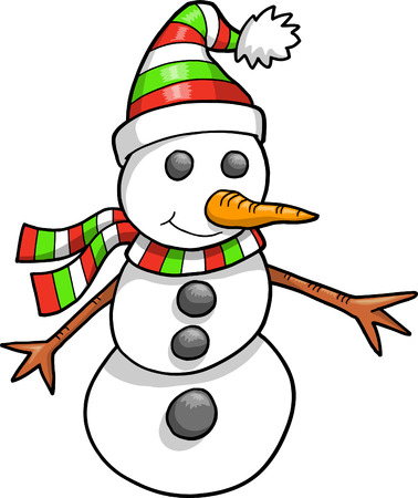 Christmas Holiday Snowman Vector Illustration Stock Vector - 6541800