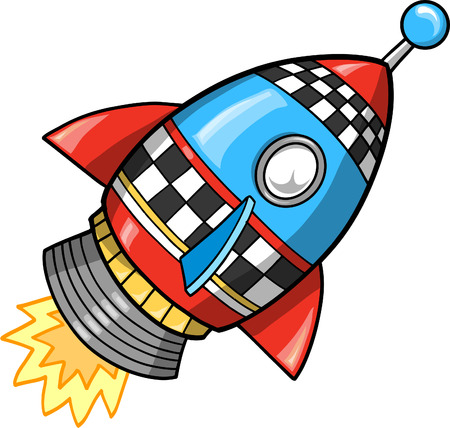 spaceships: Cute Super Rocket Vector Illustration