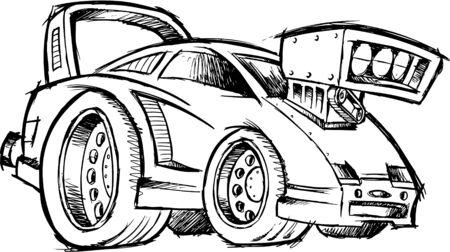 Doodle Sketchy Hot-Rod Race-Car Vector Illustration Vector