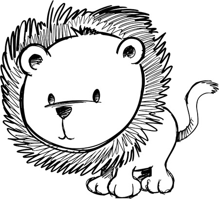 plains: Doodle Sketchy Lion Vector Illustration