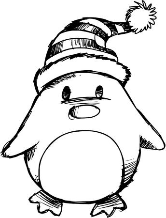 Doodle Sketchy Christmas Penguin Vector Illustration