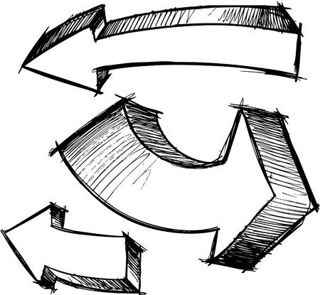 flechas: Garabatear ilustraci�n vectorial de Arrows incompletos