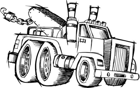 Doodle Sketchy Tow Truck Vector Illustration Stock Vector - 6542059
