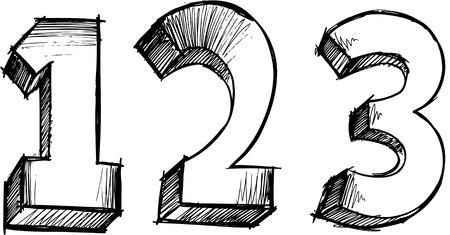 落書きのスケッチ 123 番号ベクトル イラスト