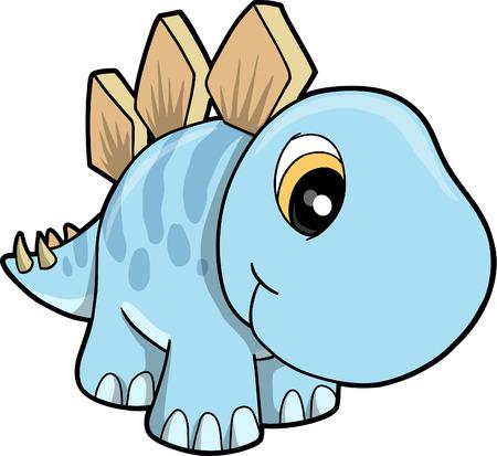 귀여운 Stegosaurus 벡터 일러스트 레이션 일러스트