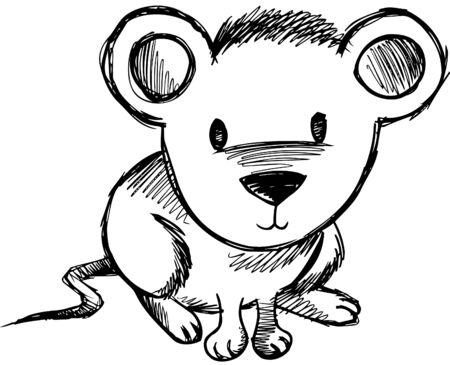 Schetsmatig muis vectorillustratie