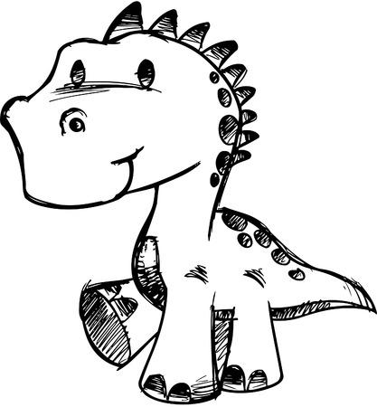 스케치 낙서 공룡 벡터 일러스트 레이션