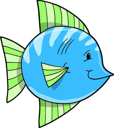 Cute Blue Fish Vector Illustration