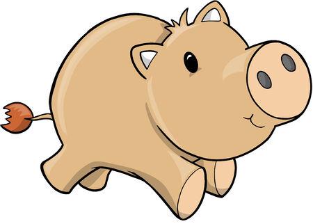 Vector Illustration of Pig Vector