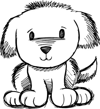 Sketchy Dog Doodle Vector Illustration