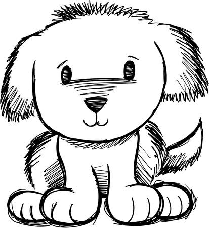 Sketchy Dog Doodle Vector Illustration