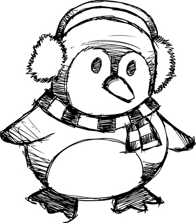 Doodle Sketchy Christmas Penguin Vector Illustration Vector